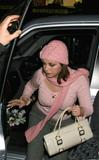 Charlotte Church Pink Top & Hat  Arriving MTV TRL UK HQ x4